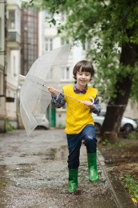stomping in puddles with an umbrella
