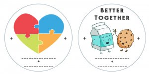 valentine templates puzzle heart milk and cookies
