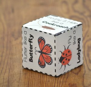 insect dice with butterfly, ladybut, and cockroach